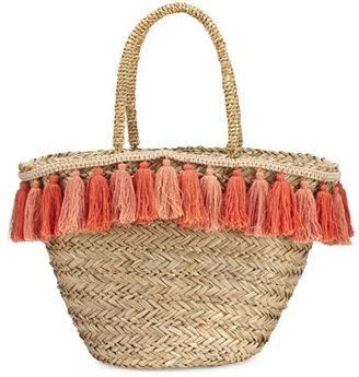 Flora Bella Wilmington Tassel-Trim Beach Tote Bag, Beige $138 thestylecure.com