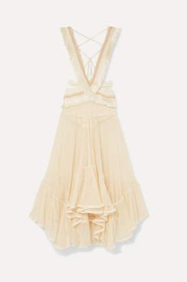 PatBO Cutout Fringed Cotton-blend Lace And Jersey Maxi Dress - Cream