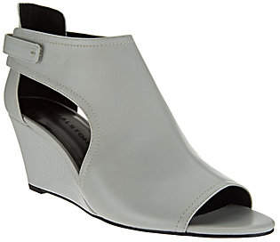 Halston H by Open-Toe Cut-Out Leather Wedges- Robyn