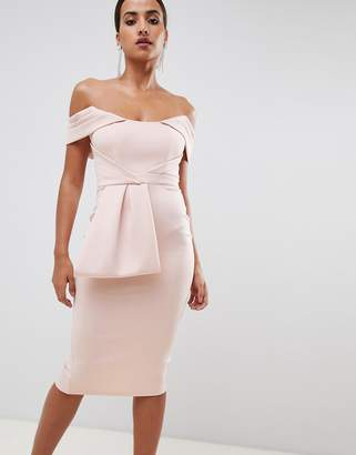 Bardot ASOS DESIGN peplum midi bodycon dress