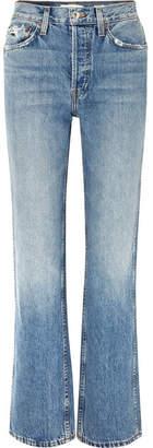 RE/DONE Originals Distressed High-rise Straight-leg Jeans - Mid denim