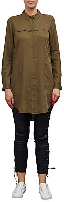 French Connection Military Tencil Shirt Dress, Dark Olive Night
