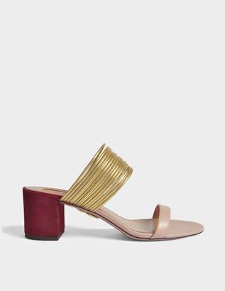 Aquazzura Rendez-Vous 50 Sandals in Powder Pink, Gold and Dark Chilli Suede, Specchio and Calf