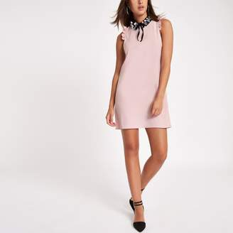 River Island Womens Pink embellished collar mini dress