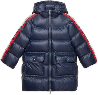 Gucci Girl's Padded Hooded Jacket w/ Logo Taping, Size 4-12