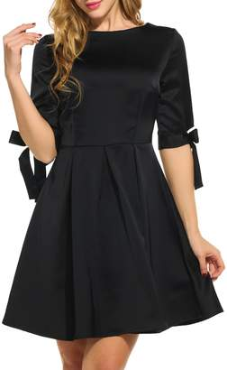 ACEVOG Women's 50s Style Half Sleeve Solid Color Vintage Rockabilly Dress With Bow Knot ( XXL)
