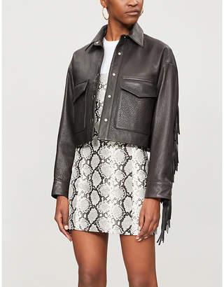 The Kooples Tassel-trimmed cropped leather jacket