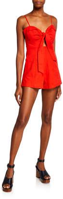 Astr Reese Cutout Tie-Front Wide-Leg Romper