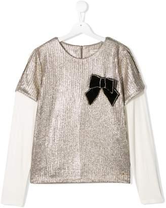 Twin-Set metallic plisse blouse