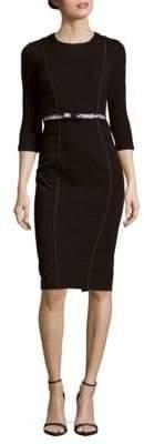 Basler Textured Cotton-Blend Sheath Dress