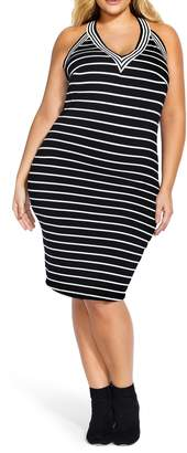 City Chic Stripe Racerback Dress