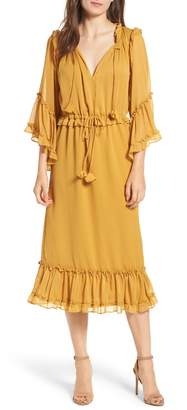MISA Los Angeles Beliz Ruffle Tassel Tie Dress