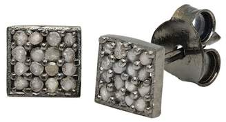 Best Silver Inc. Black Rhodium Plated Sterling Silver Pave Champagne Diamond Square Stud Earrings - 0.24 ctw