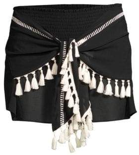 Ramy Brook Dario Sheer Tie-Front Tassel Shorts