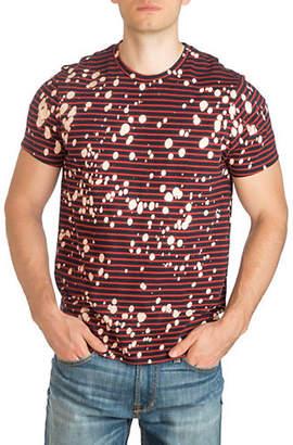 GUESS Rave Splatter Striped Cotton T-Shirt