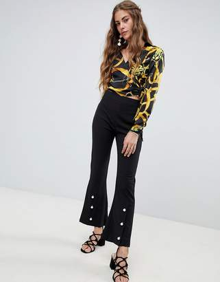 Love & Other Things Cropped Trousers With Pearl Detailing