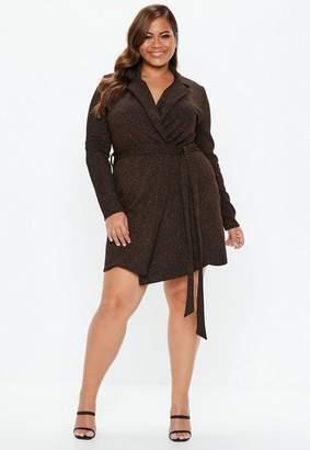 Missguided Plus Size Bronze Sparkle Blazer Dress, Bronze