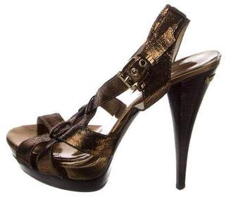 Michael Kors Embossed Leather Sandals