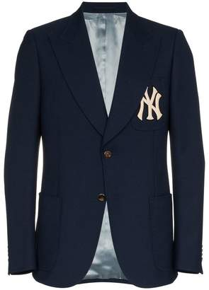 Gucci X MLB NY Yankees embroidered single breasted wool blend blazer