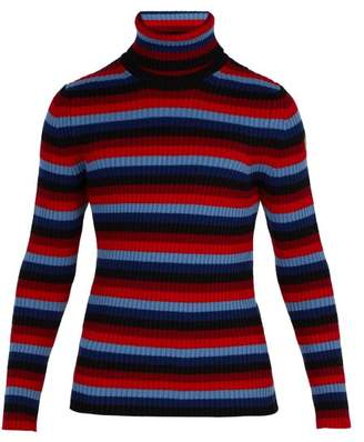 Moncler 3 Intarsia Striped Roll Neck Wool Blend Sweater - Mens - Red Stripe