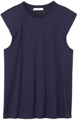 Tibi Mercerized Knit Padded Shoulder Top