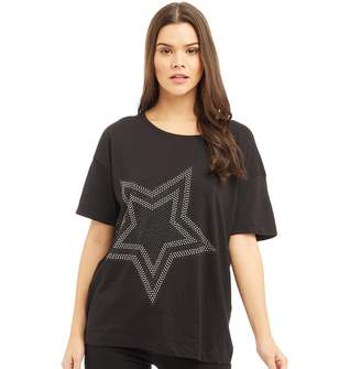 Jacqueline De Yong Womens Star Print T-Shirt Black