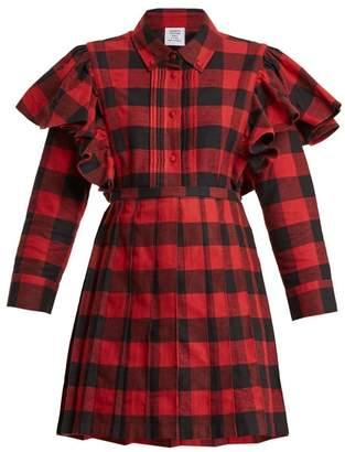 Vetements Point Collar Checked Cotton Flannel Dress - Womens - Red Multi