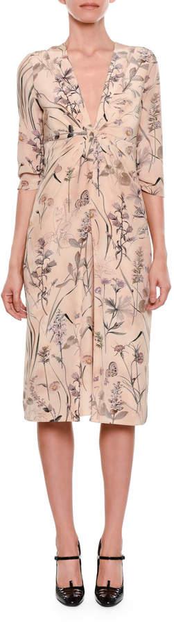 Bottega Veneta Botanical-Print Long-Sleeve Gathered-Waist Silk Dress