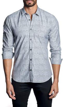Jared Lang Men's Modern-Fit Skulls Long-Sleeve Shirt