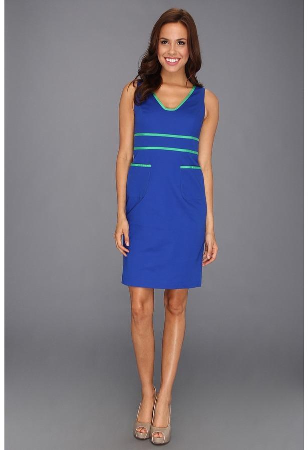 Anne Klein Contrast Trim Sheath Dress 10390406-120 (Azure) - Apparel