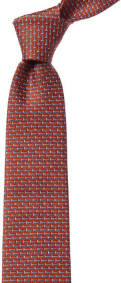 Salvatore Ferragamo Orange & Blue Trumpet Silk Tie
