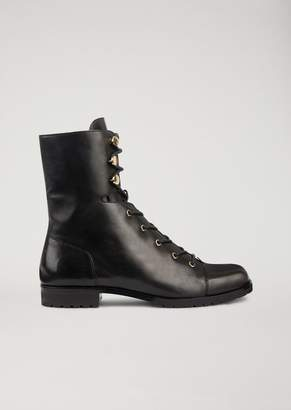 Emporio Armani Leather Combat Boots With Golden Metal Details
