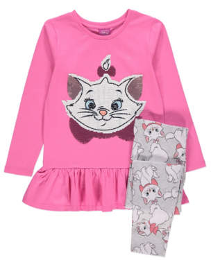 CAT Disney Aristocats Marie Swipe Sequin T-Shirt and Leggings Outfit