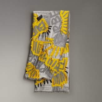 Burberry Graffiti Print Fil Coupe Cotton Wool Modal Scarf, Yellow