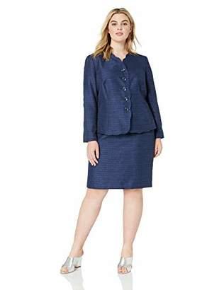 Le Suit Women's Plus Size 4 Buttton Scalloped Detail Novelty Skirt Suit