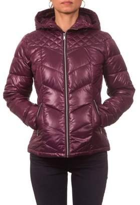 Pink Platinum Junior Plus Size Hooded Down Blend Jacket