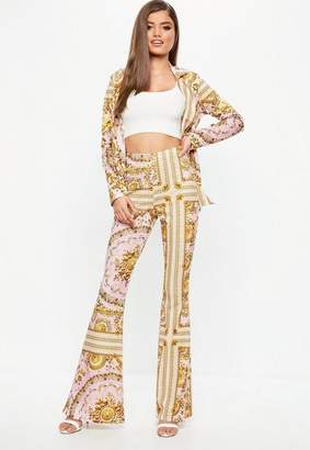 Missguided Pink Chain Print Kick flare Pants