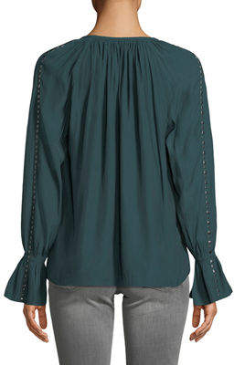 Ramy Brook Margaret Studded Long-Sleeve Top
