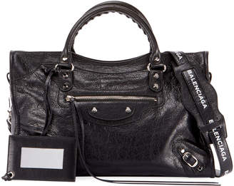 Balenciaga Classic City Leather Tote Bag with Logo Strap
