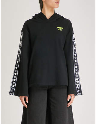 Boy London Side-stripe cotton-jersey hoody