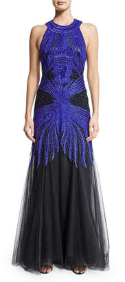 Monique Lhuillier Sleeveless Embroidered Racerback Gown, Cobalt/Black