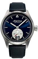 Alpina StartimerパイロットBig Dateブラックブルーダイヤルブラックレザーメンズウォッチal-280ns4s6