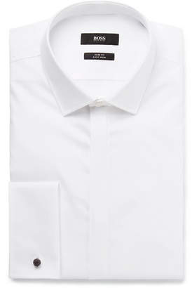 af007945 HUGO BOSS White Jilias Slim-Fit Double-Cuff Cotton Oxford Shirt