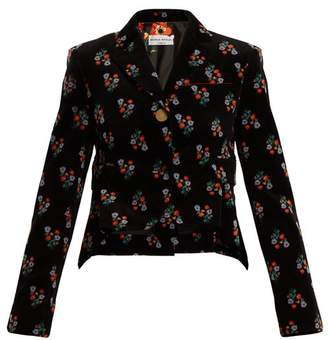 Sonia Rykiel Floral Print Single Breasted Corduroy Jacket - Womens - Black Print
