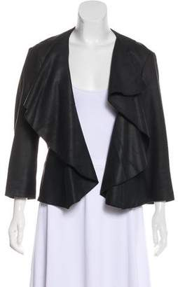 MICHAEL Michael Kors Leather Ruffled Jacket