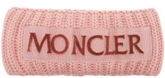 Moncler Velvet Logo Wool Headband - Womens - Light Pink