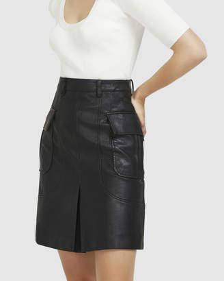 Midi Vegan Leather Skirt