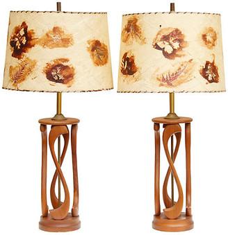 One Kings Lane Vintage Mid Century Teak Table Lamps - a Pair