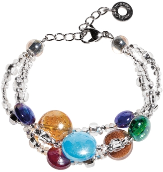 Antica Murrina Redentore 1 - Multicolor Murano Glass Drops & Silver Leaf Bracelet $78 thestylecure.com