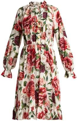 Dolce & Gabbana Silk crepe de Chine rose and peony-print dress